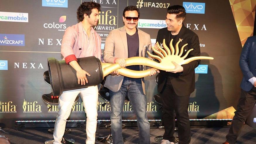Varun Dhawan, Saif Ali Khan and Karan Johar at IIFA.