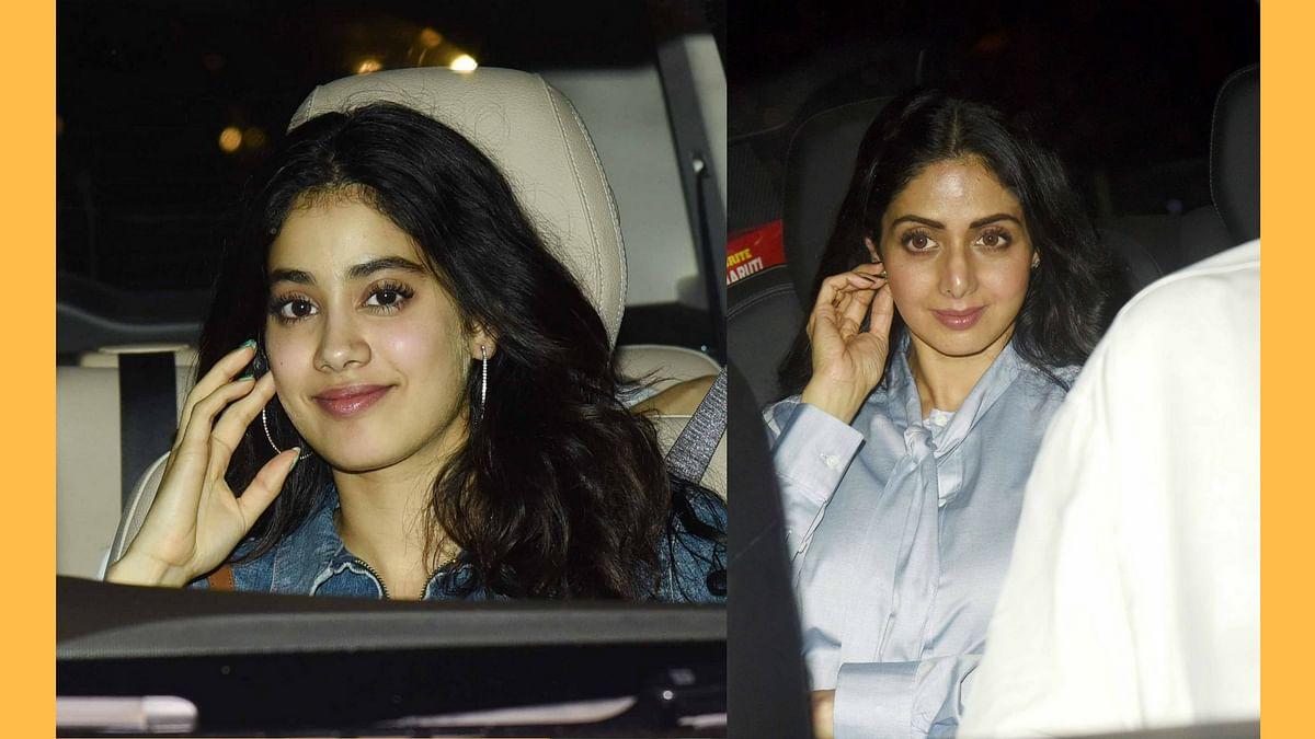 Jhanvi and Sridevi at the special screening of <i>Mom.</i>