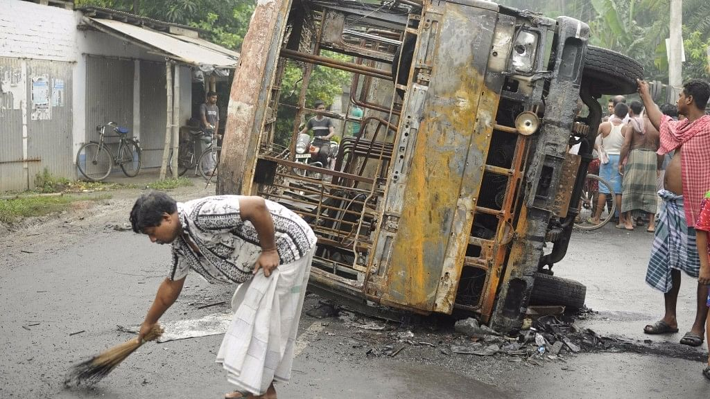 A vehicle that was torched after two groups clashed following a Facebook post in Baduria of West Bengal's North 24 Parganas district on 5 July, 2017.