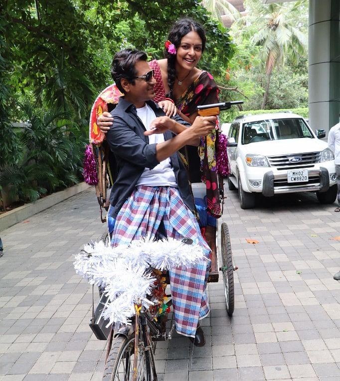 Nawazuddin Siddiqui with his <i>Babumoshai Bandookbaaz</i> co-star Bidita Bag.
