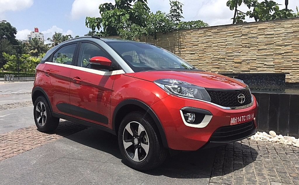 The high shoulder-line and coupe-like styling of the Tata Nexon.