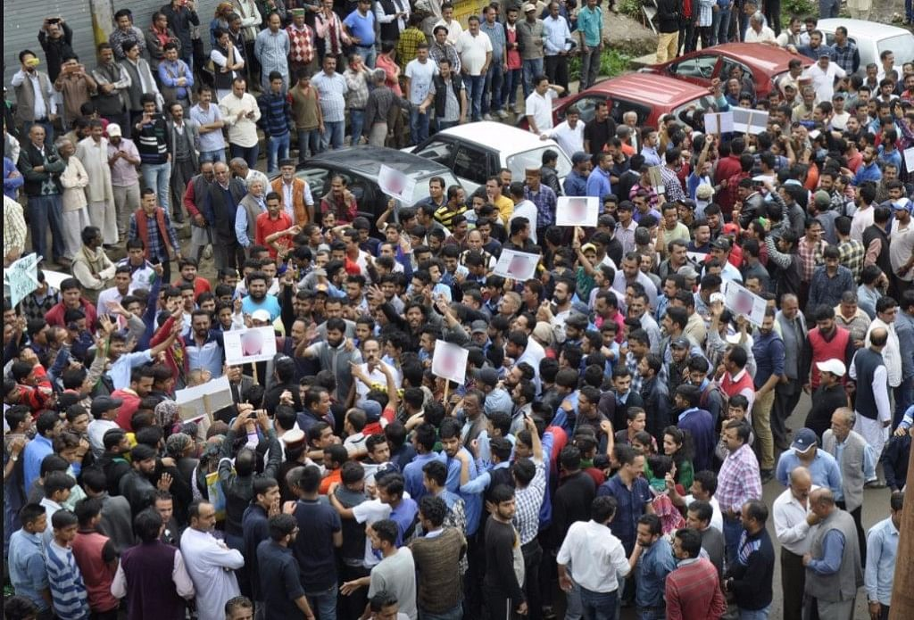 Protesters at Theog in Shimla.
