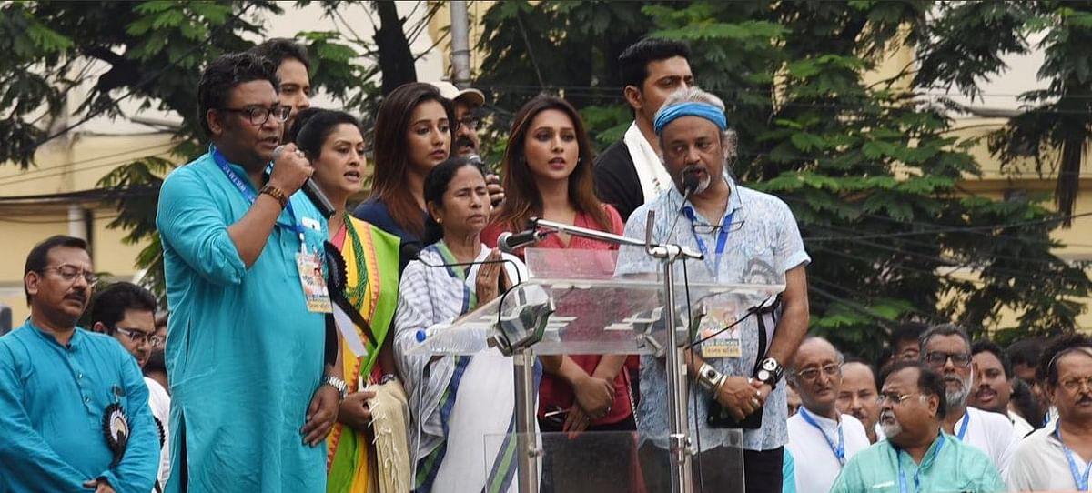 Bengal CM Mamata Banerjee addresses the Shahid Diwas rally.