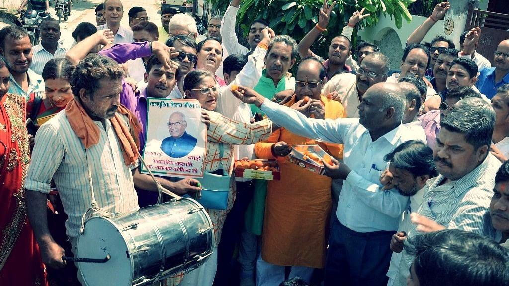 People celebrate in Kovind's village. (Photo: PTI)