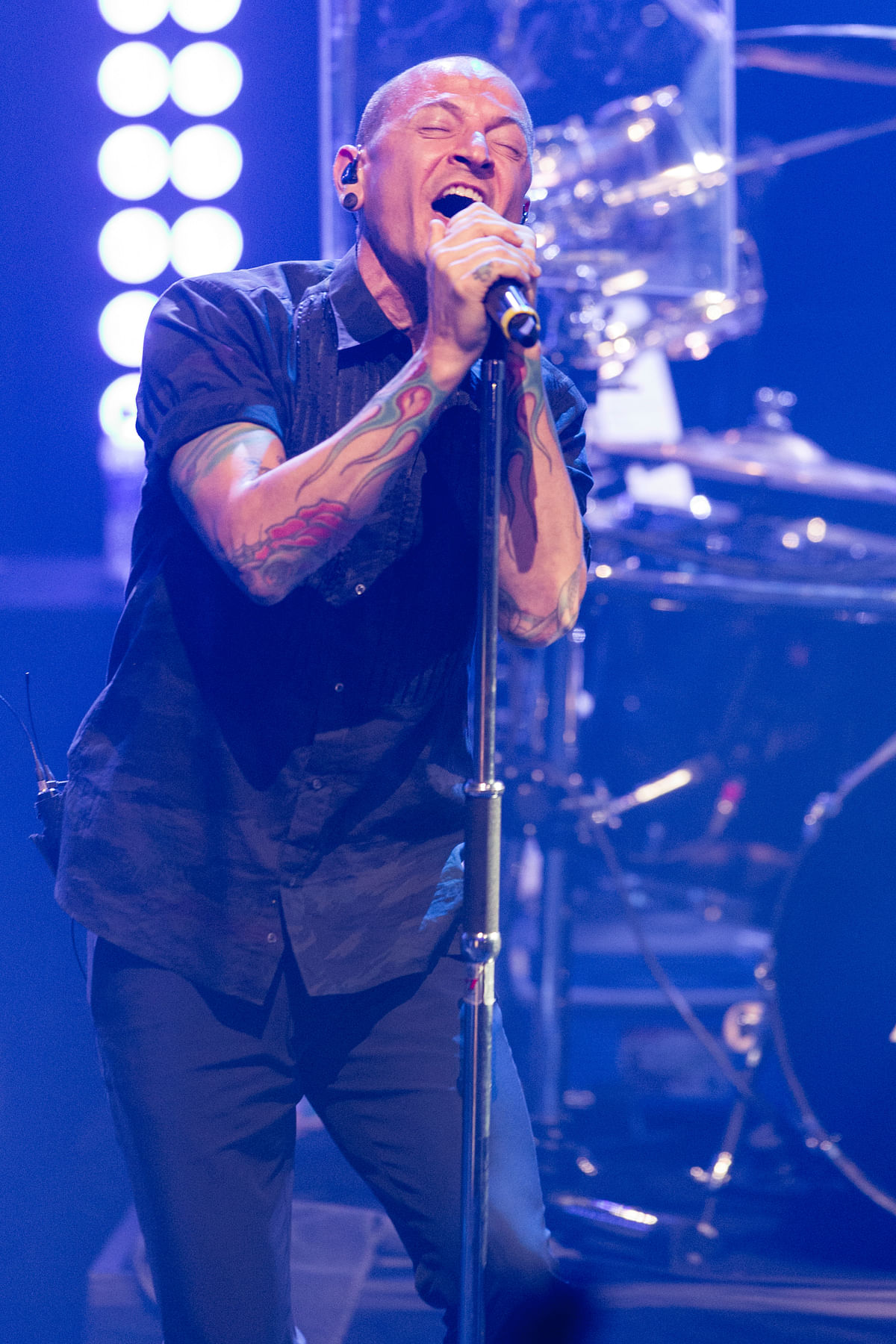 Chester Bennington of Linkin Park performs during the iHeartRadio Live Series in Burbank, Calif.