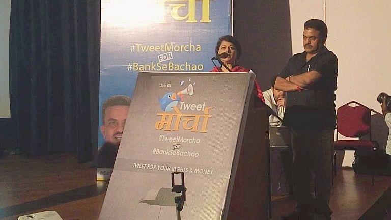 Journalist Sucheta Dalal and Congress leader Sanjay Nirupam  launch their social media campaign. (Photo: Prathamesh Shinde/BloombergQuint)