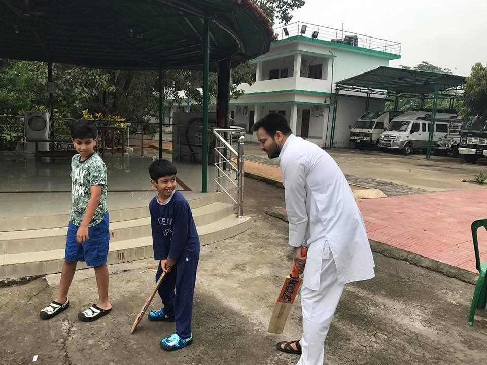 Tejashwi Yadav reliving his cricket days.