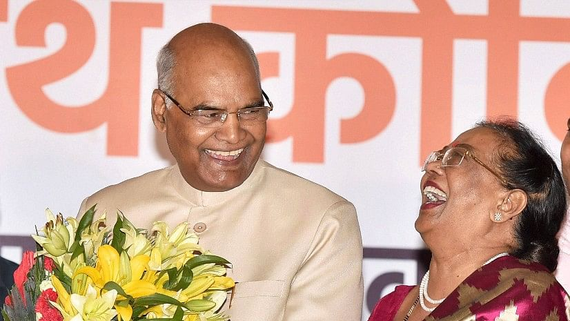 Ram Nath Kovind, along with his wife Savita, accepting greetings on being elected as the 14th President of India, in New Delhi on Thursday.