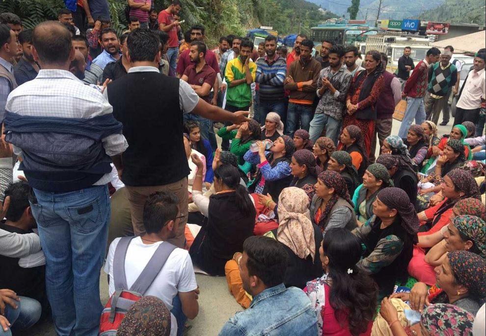 Women protesting at Kotkhai.