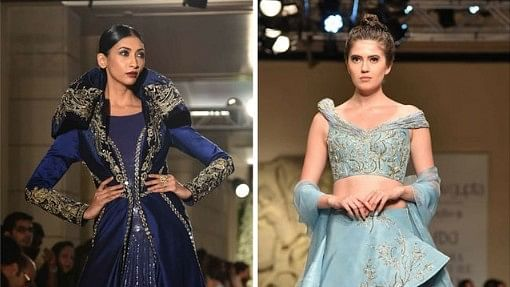 Models wearing collections by (L to R)  Gaurav Gupta and Manav Gangwani.