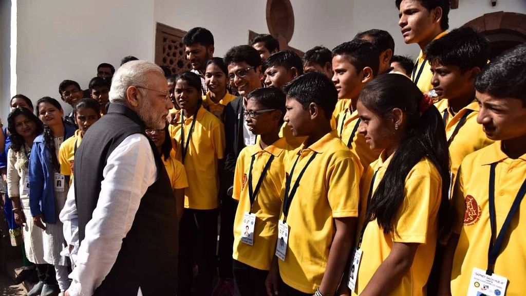 File image of PM Modi with students.