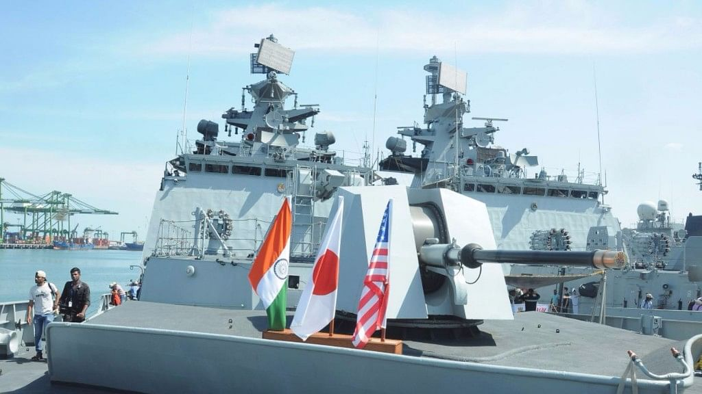 Image of one of the ships that will participate in the Malabar Exercise.
