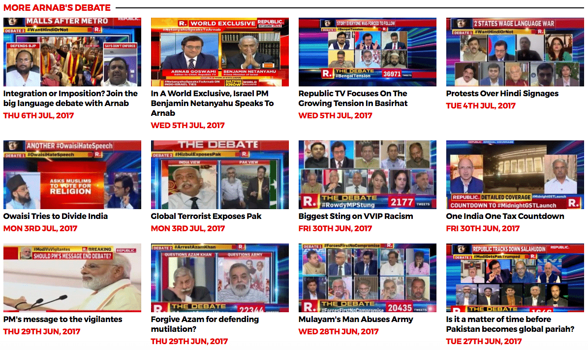 """Communal violence in Bengal, language wars, Pakistan, but no mention of China. (Screengrab: <a href=""""http://www.republicworld.com/the-debate"""">Republic World website</a>)"""