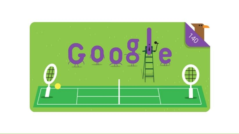 Celebrating 140 years of Wimbledon with Google Doodle.