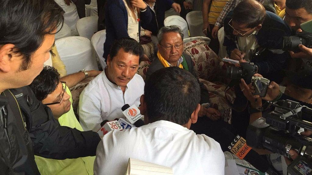 GJM leader Bimal Gurung at a rally in Darjeeling.
