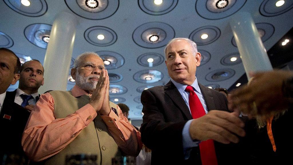 Indian Prime Minister Narendra Modi with Israeli Prime Minister Benjamin Netanyahu  in Tel Aviv.