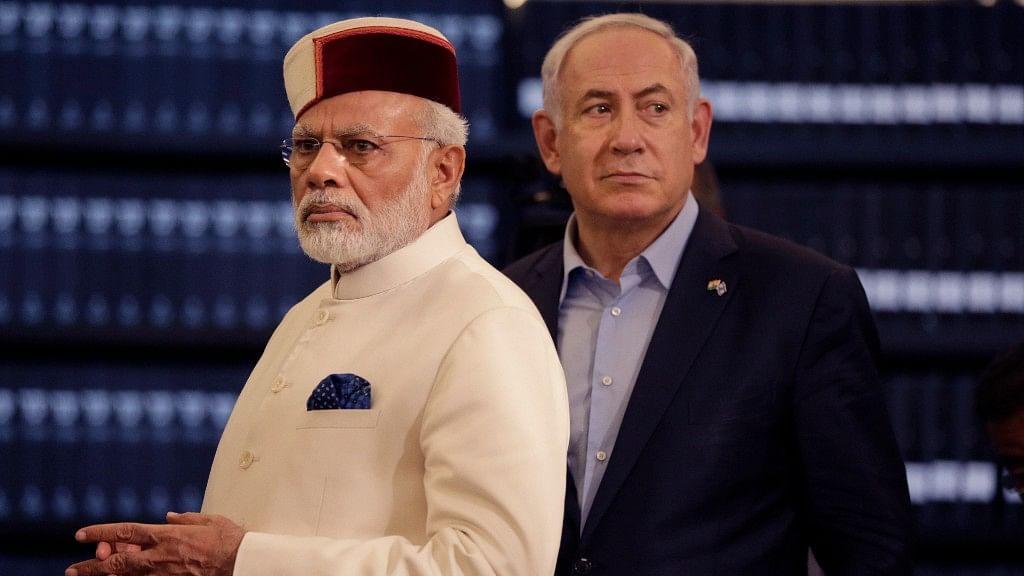 Indian Prime Minister Narendra Modi and Israeli Prime Minister Benjamin Netanyahu at the Yad Vashem Holocaust memorial museum in Jerusalem. (Photo: AP)