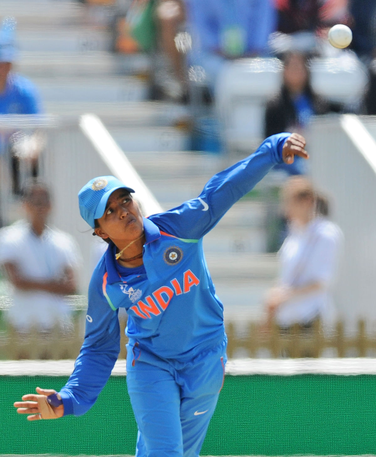 India's Ekta Bisht bowls during the ICC Women's World Cup 2017 match between India and Pakistan. (Photo: AP)