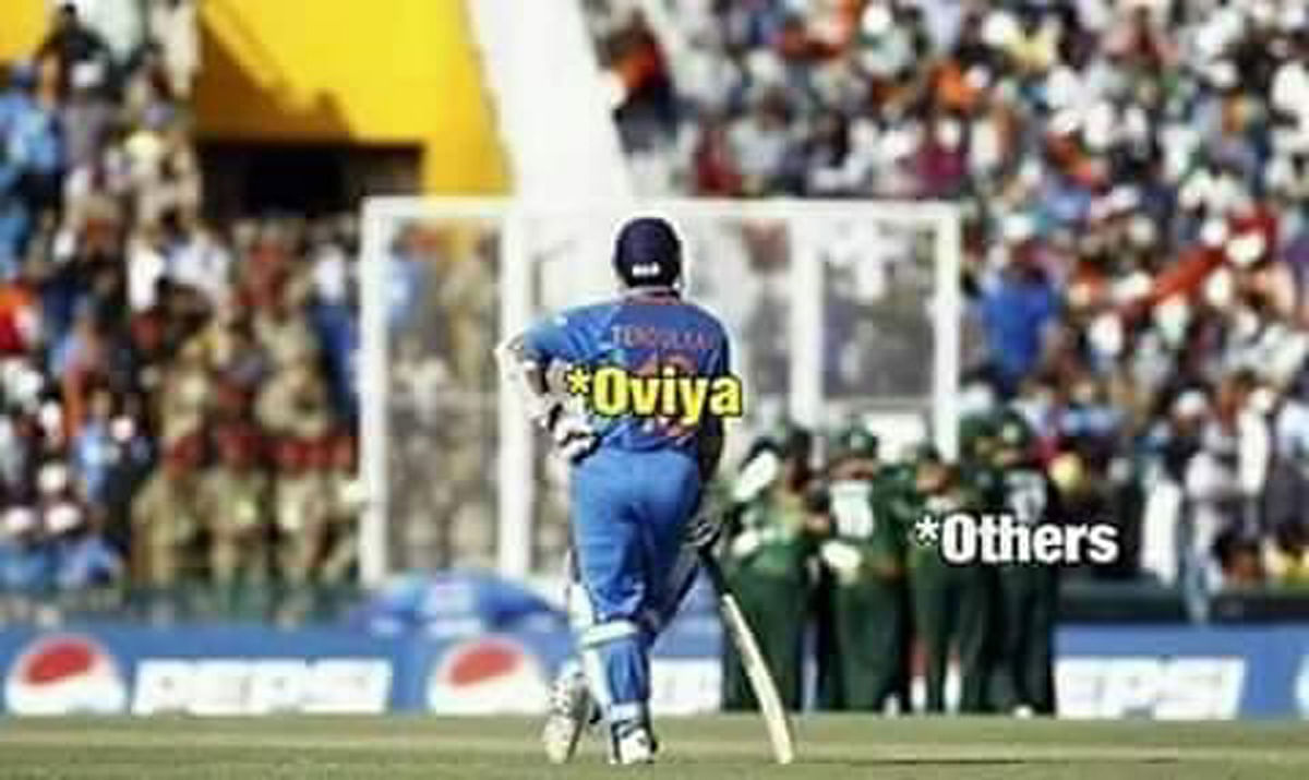 A meme on how Oviya stands alone inside the Bigg Boss Tamil house. I wouldn't have watched the show if I didn't have to review it. But Oviya's been interesting.