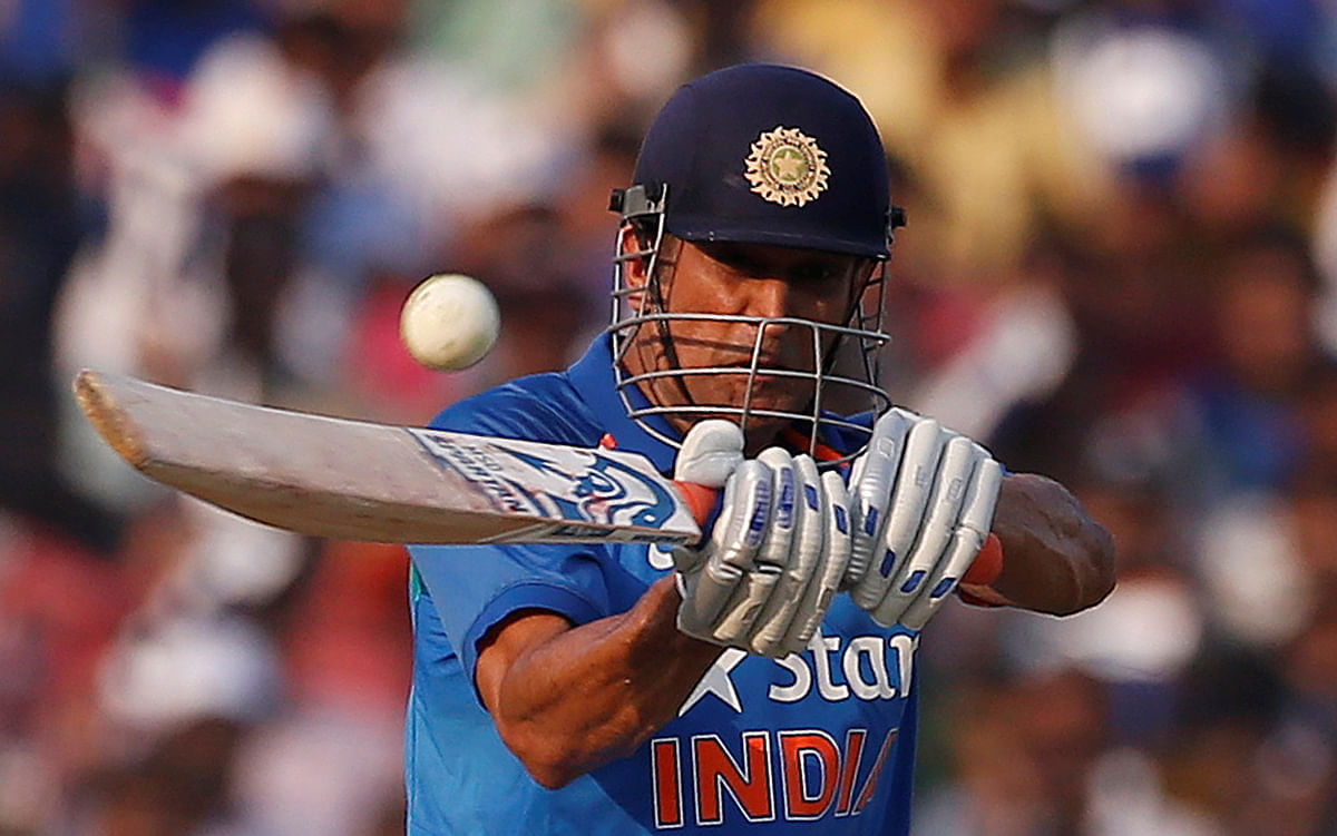 MS Dhoni plays a shot during the ODI series against England earlier this year.