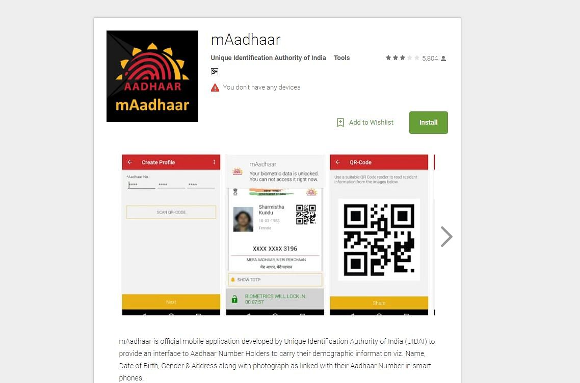 This is the legit mAadhaar app for Android users.