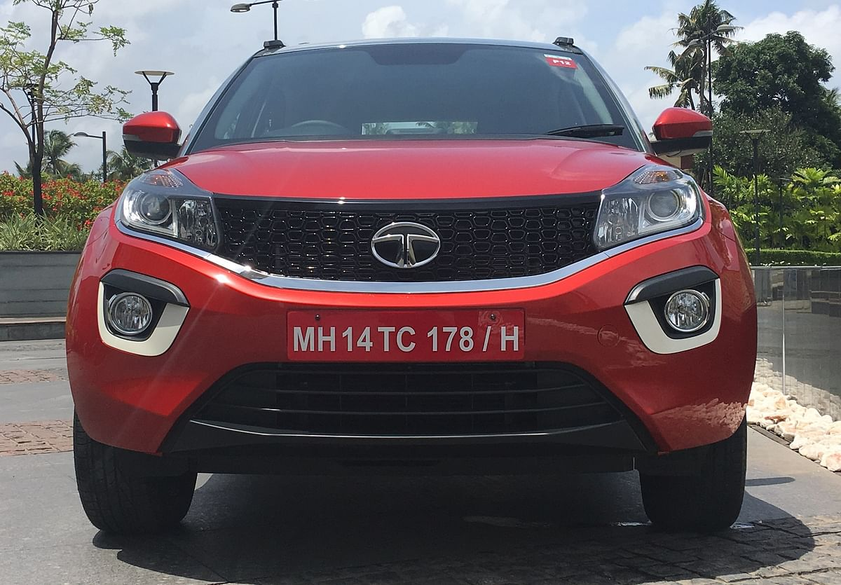 The front has Tata's familiar smiley-face grille, flanked by projector headlamps with LED daytime running lamps.