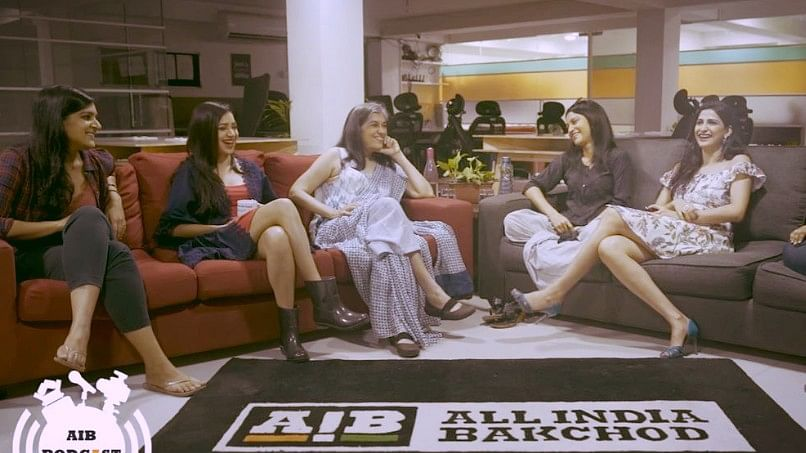 <i>Lipstick Under My Burkha</i> cast with AIB's  Kaneez Surka and Sumukhi Suresh during a podcast.