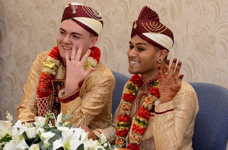 Britain's first Muslim same-sex marriage: Jahed Choudhury and Sean Rogan.
