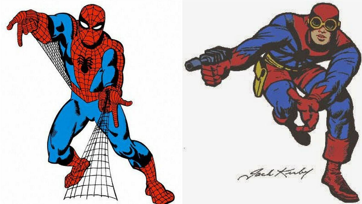 Steve Dikto's Spiderman (left) and Jack Kirby's prototype (right)
