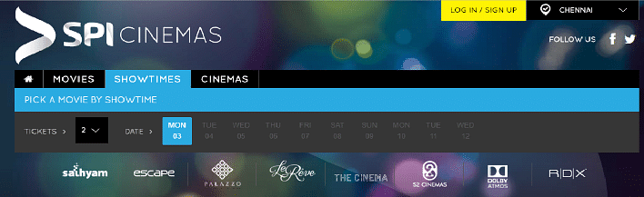 No showtimes on display on the SPI Cinemas website.