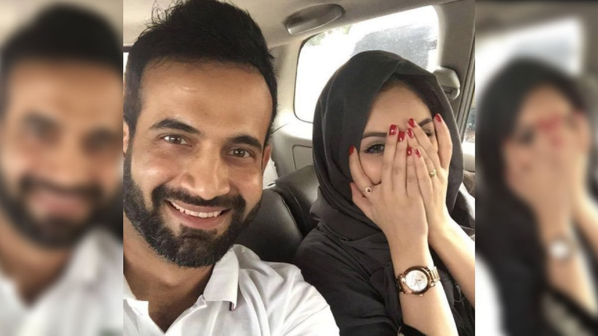 Irfan Pathan with wife Safa Baig. The couple wed in February.
