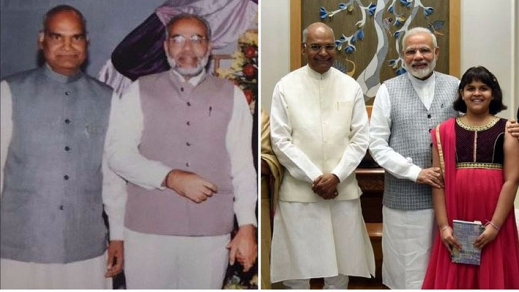 Then and now: A photo from 20 years ago (L) and a recent photo (R) of Modi and Kovind together.