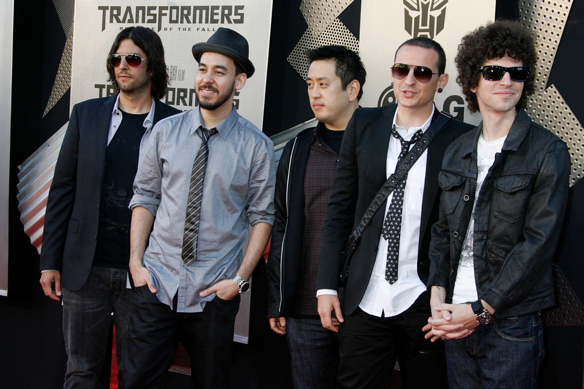 """Members of Linkin Park pose at the Los Angeles premiere """"Transformers: Revenge of the Fallen""""in  2009."""