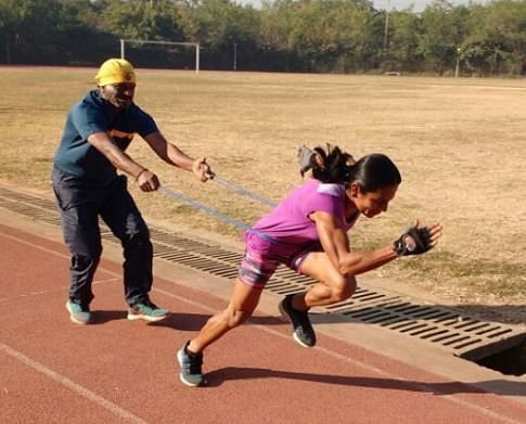 Dutee Chand in action during training.