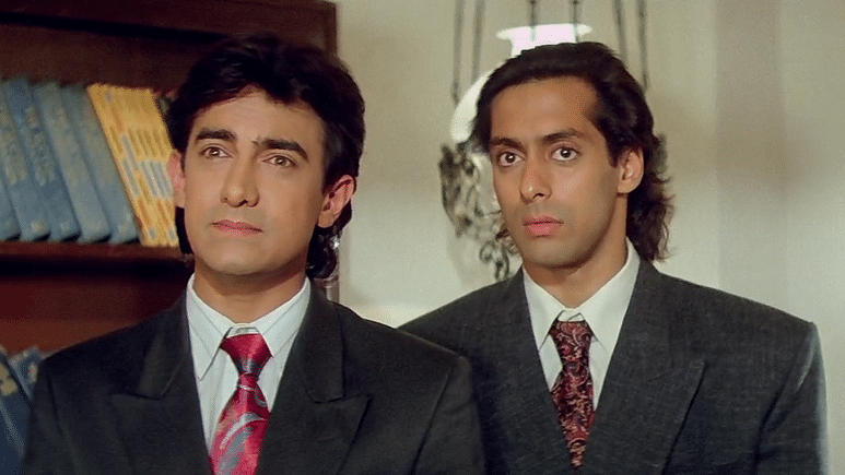 Aamir and Salman Khan in a scene from <i>Andaz Apna Apna. </i>