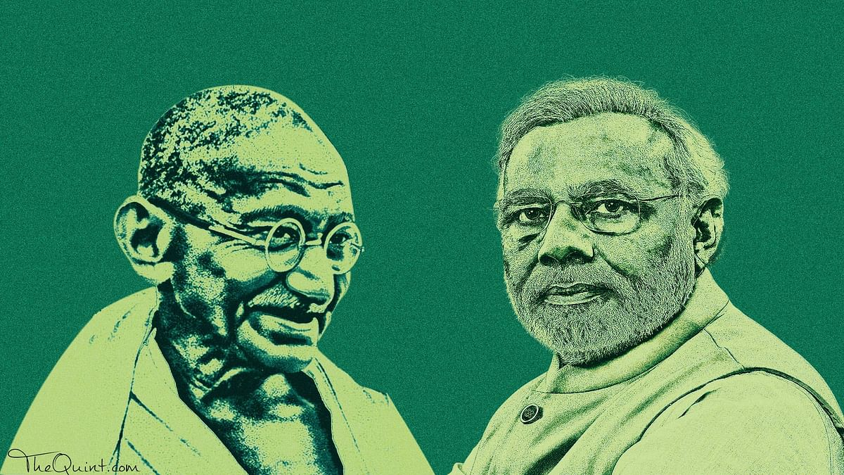 Even as PM Modi invokes the Mahatma to warn cow vigilantes, there is a stark difference between their brand of politics. (Photo: Rhythum Seth/<b>The Quint</b>)
