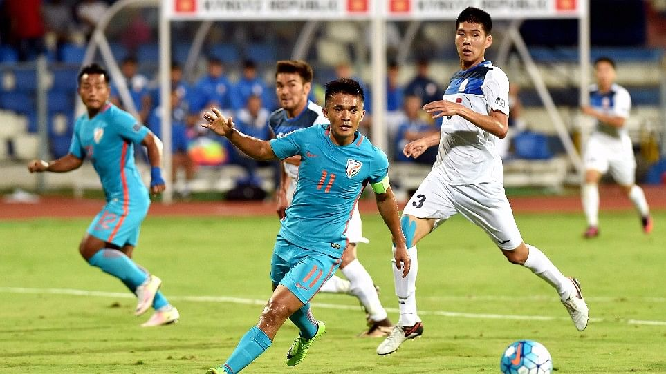 Sunil Chhetri in action during the AFC Asian Cup qualifier match between India and Kyrgyzstan.