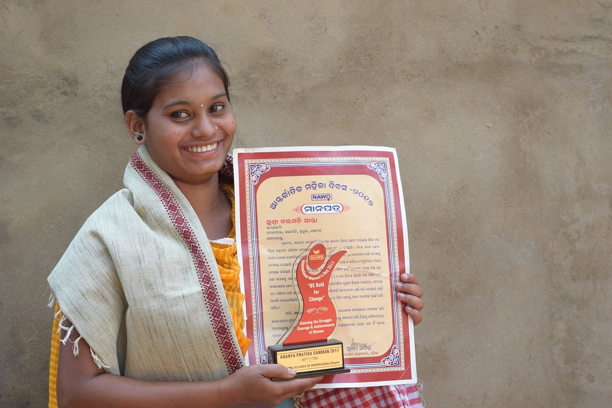 Daimati Santa of Koraput honoured for her stand against child marriage.
