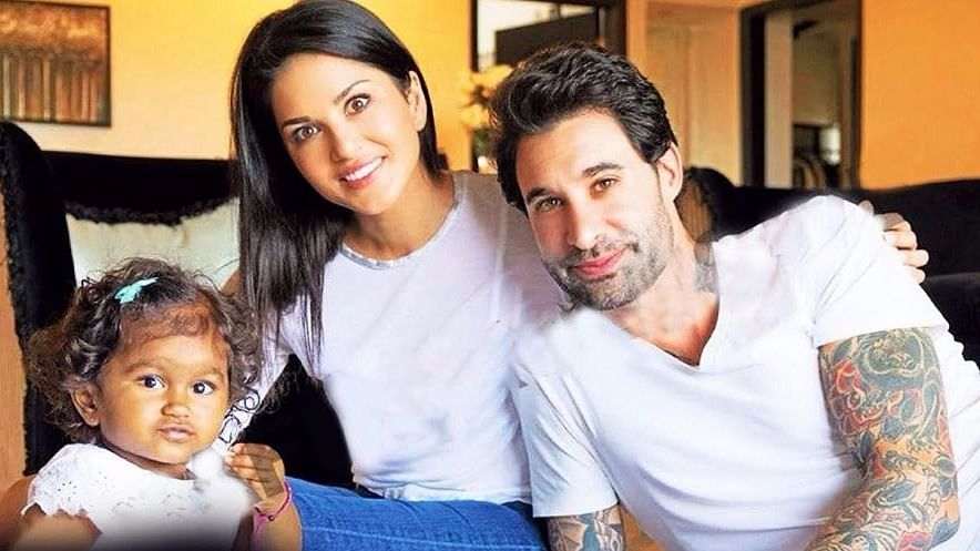 Sunny Leone with Daniel Weber and their little girl, Nisha.