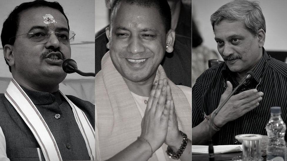 MPs who stuck around till the presidential polls – Keshav Prasad Maurya (left), Yogi Adityanath (centre) and Manohar Parrikar.
