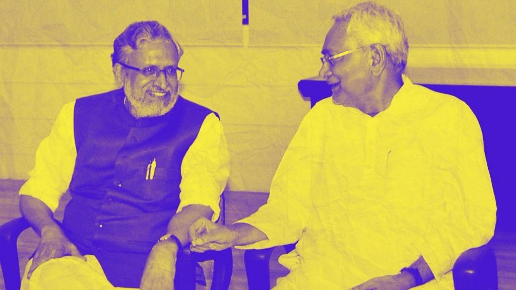 Bihar Chief Minister Nitish Kumar with senior leader of BJP Sushil Kumar Modi at legislators meeting in Patna on Wednesday.