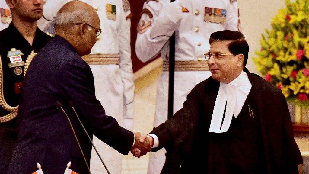 India's 45th CJI Dipak Misra (right) with President Ramnath Kovind (left).