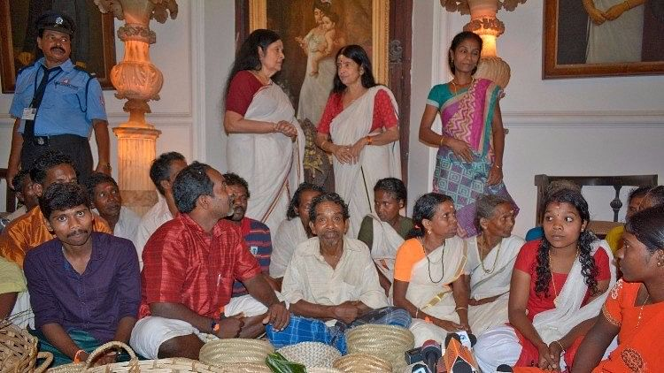 Members of the Kani tribe, who live in forests met members of the Travancore Royal family and offered 'Thirumulkazhcha'.