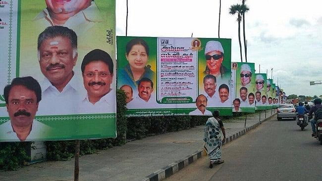 Activists allege around 900 AIADMK hoardings were placed on just one seven-kilometre stretch.