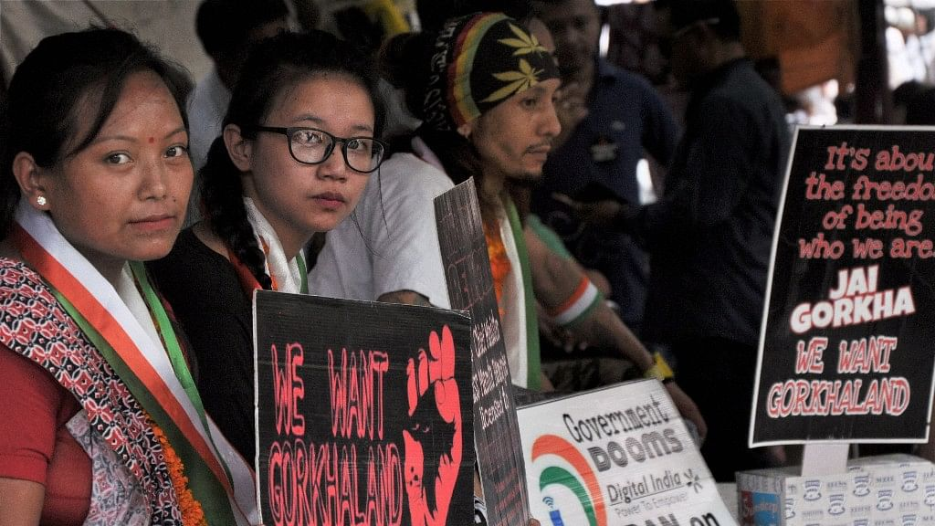 """Activists of the Gorkhaland Movement Coordination Committee (GMCC) during a hunger strike to demand the separate state of Gorkhaland"""" at Jantar Mantar in New Delhi on Sunday."""