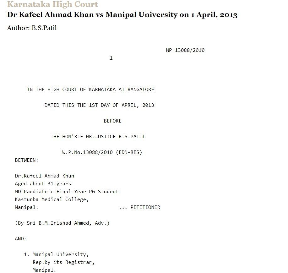 A legal document claiming that the Manipal University had suspended Dr Kafeel Khan for a criminal case against him.