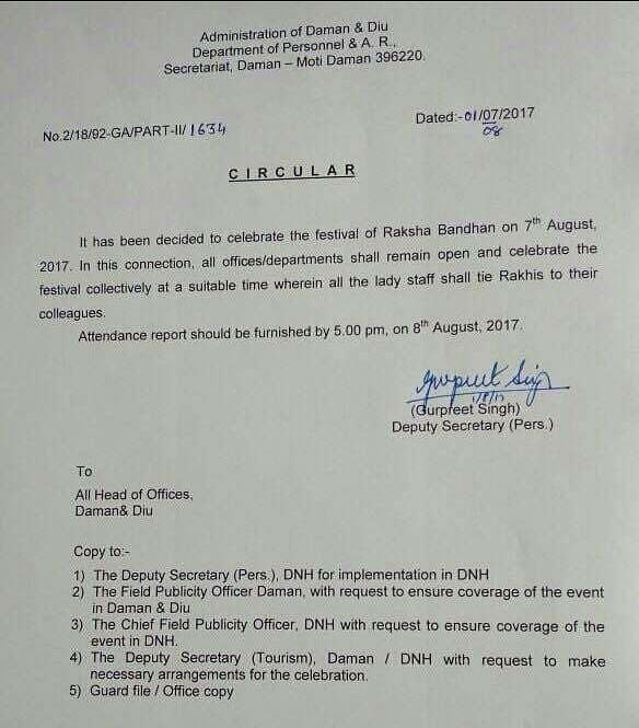 Daman-Diu Officers Red-faced After Bizarre Rakhi Order Draws Flak