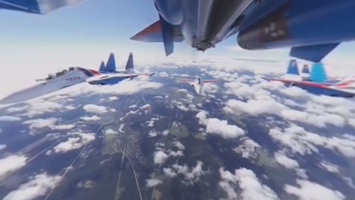 View from a jet's panoramic VR camera.