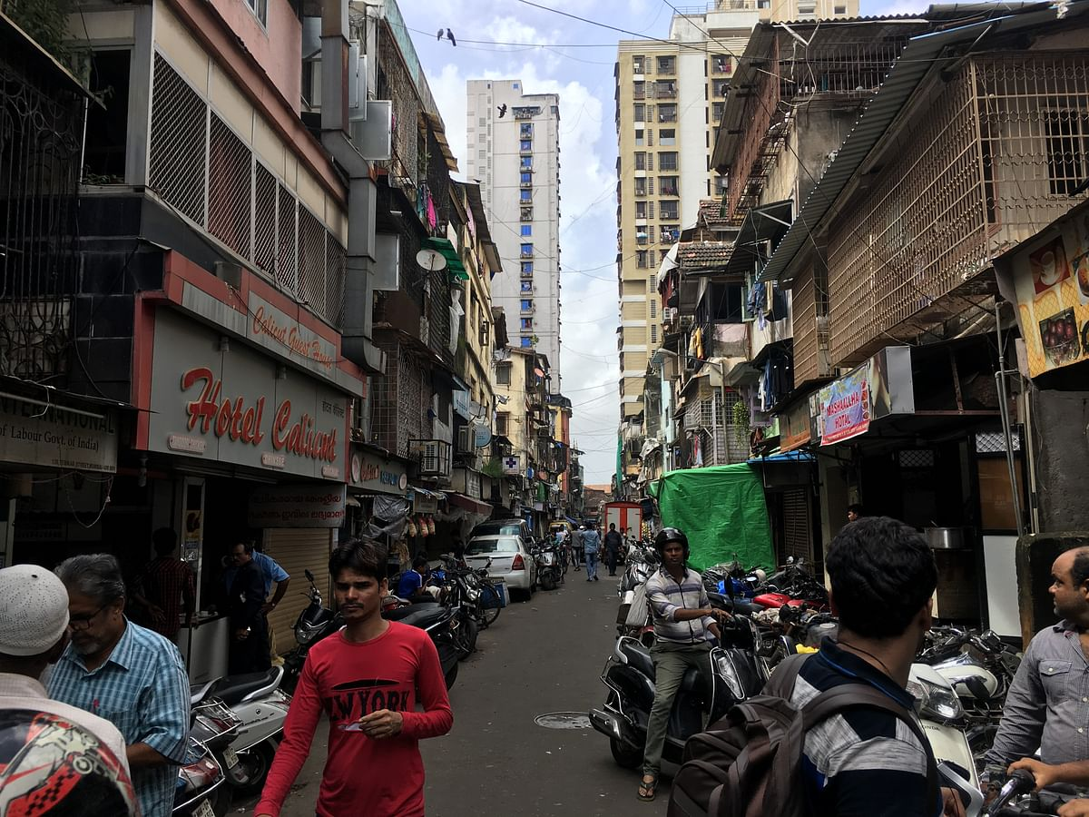 A few dilapidated buildings at Bhendi Bazaar that are located opposite the collapse site.
