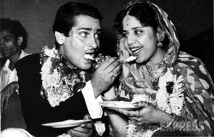 Shammi Kapoor and Geeta Bali at their wedding.